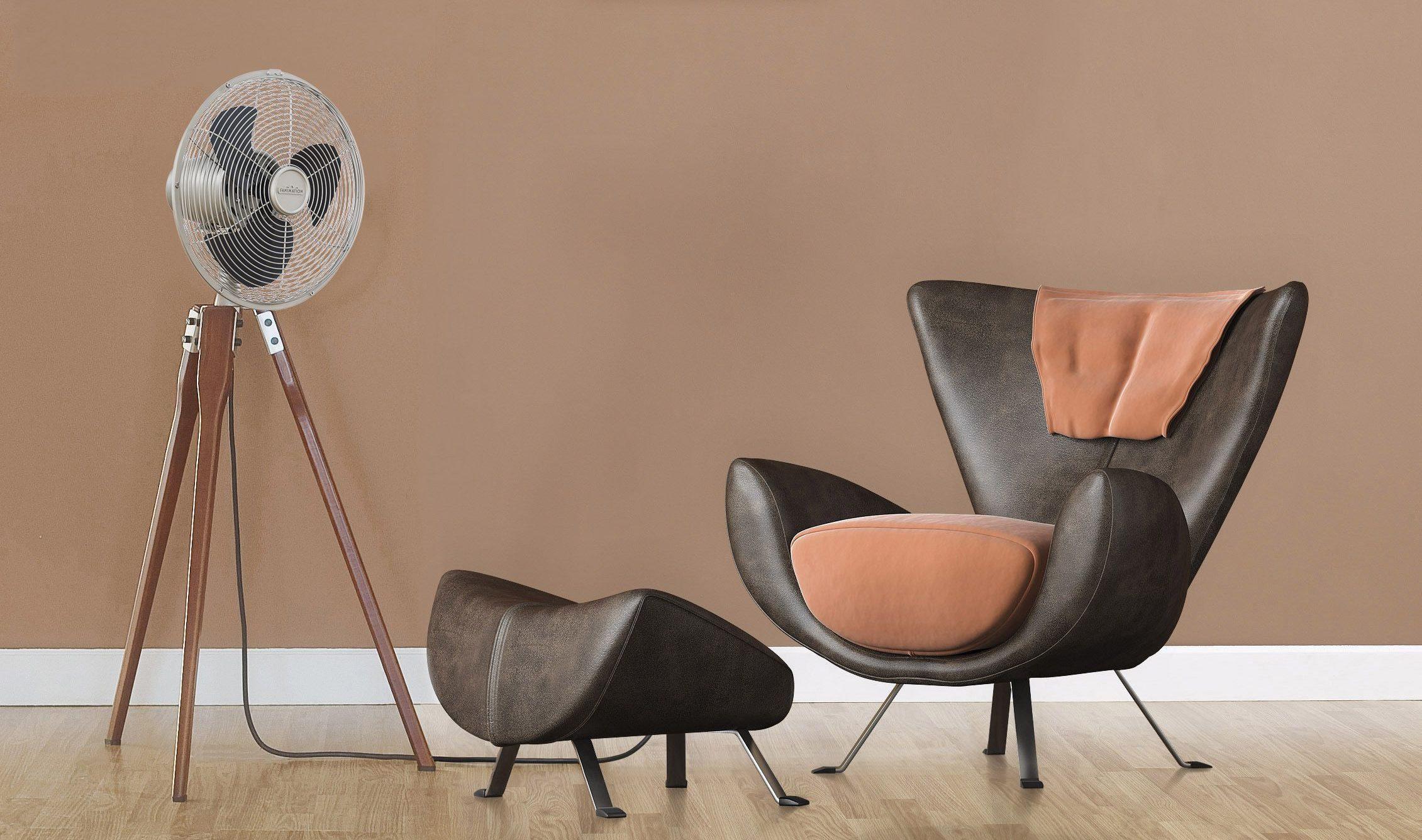 ventilateur design en bois silencieux fanimation, rafraichisseur d'air de luxe avec des pieds en bois massif